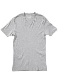 T-shirt à col en v gris Garage