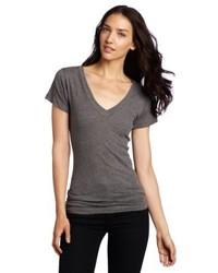 T-shirt à col en v gris LnA