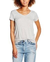 T-shirt à col en v gris PIECES