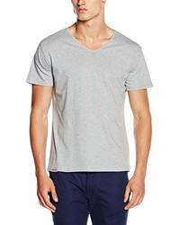 T-shirt à col en v gris