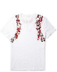 T-shirt à col en v imprimé blanc et rouge