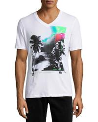 T-shirt à col en v imprimé blanc