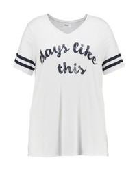 T-shirt à col en v imprimé blanc Zizzi
