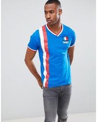 T-shirt à col en v imprimé bleu Brave Soul