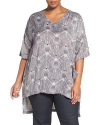 T-shirt à col en v imprimé gris