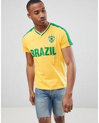 T-shirt à col en v imprimé jaune Brave Soul