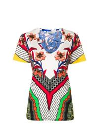 T-shirt à col en v imprimé multicolore Etro