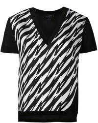 T-shirt à col en v imprimé noir et blanc Dsquared2