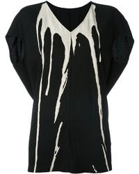 T-shirt à col en v imprimé noir et blanc Rick Owens