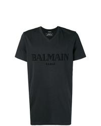 T-shirt à col en v imprimé noir Balmain