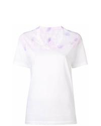 T-shirt à col en v imprimé tie-dye blanc MM6 MAISON MARGIELA