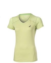 T-shirt à col en v jaune Asics