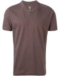 T-shirt à col en v marron