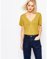 T-shirt à col en v moutarde