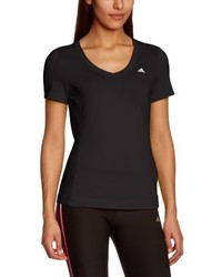 T-shirt à col en v noir adidas