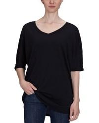 T-shirt à col en v noir Bobi