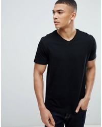 T-shirt à col en v noir Burton Menswear