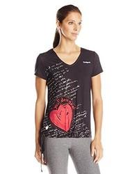 T-shirt à col en v noir Desigual