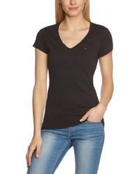 T-shirt à col en v noir Hilfiger Denim