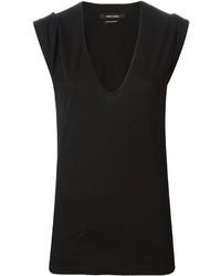 T-shirt à col en v noir Isabel Marant