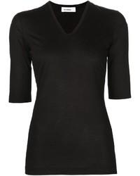 T-shirt à col en v noir Jil Sander