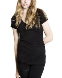 T-shirt à col en v noir LnA