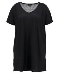 T-shirt à col en v noir New Look
