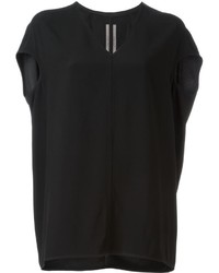 T-shirt à col en v noir Rick Owens
