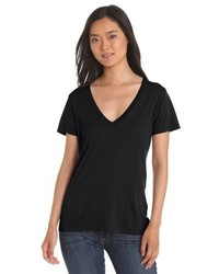 T-shirt à col en v noir Splendid