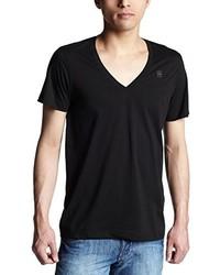 T-shirt à col en v noir