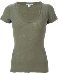 T-shirt à col en v olive James Perse