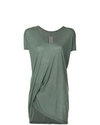 T-shirt à col en v olive Rick Owens
