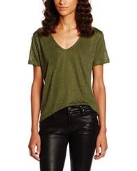 T-shirt à col en v olive Second Female