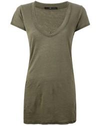 T-shirt à col en v olive Sly 010