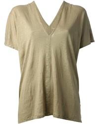 T-shirt à col en v olive