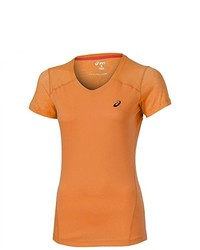 T-shirt à col en v orange Asics