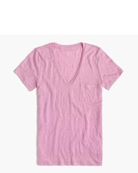 T-shirt à col en v rose