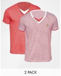 T-shirt à col en v rouge Brave Soul