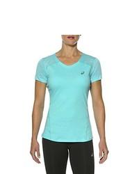 T-shirt à col en v turquoise Asics