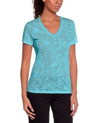 T-shirt à col en v turquoise