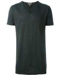 T-shirt à col en v vert foncé