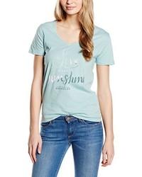 T-shirt à col en v vert menthe Wrangler