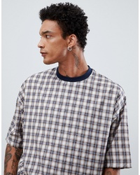 T-shirt à col rond à carreaux blanc ASOS DESIGN