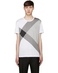 T-shirt à col rond à carreaux blanc Burberry