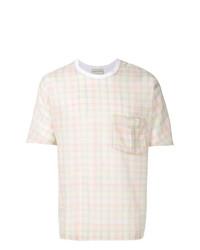 T-shirt à col rond à carreaux blanc Stephan Schneider