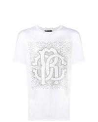T-shirt à col rond à clous blanc Roberto Cavalli
