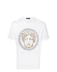 T-shirt à col rond à clous blanc Versace