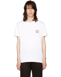 T-shirt à col rond à étoiles blanc