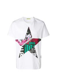 T-shirt à col rond à étoiles blanc Versace Jeans