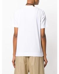 T-shirt à col rond à fleurs blanc et noir